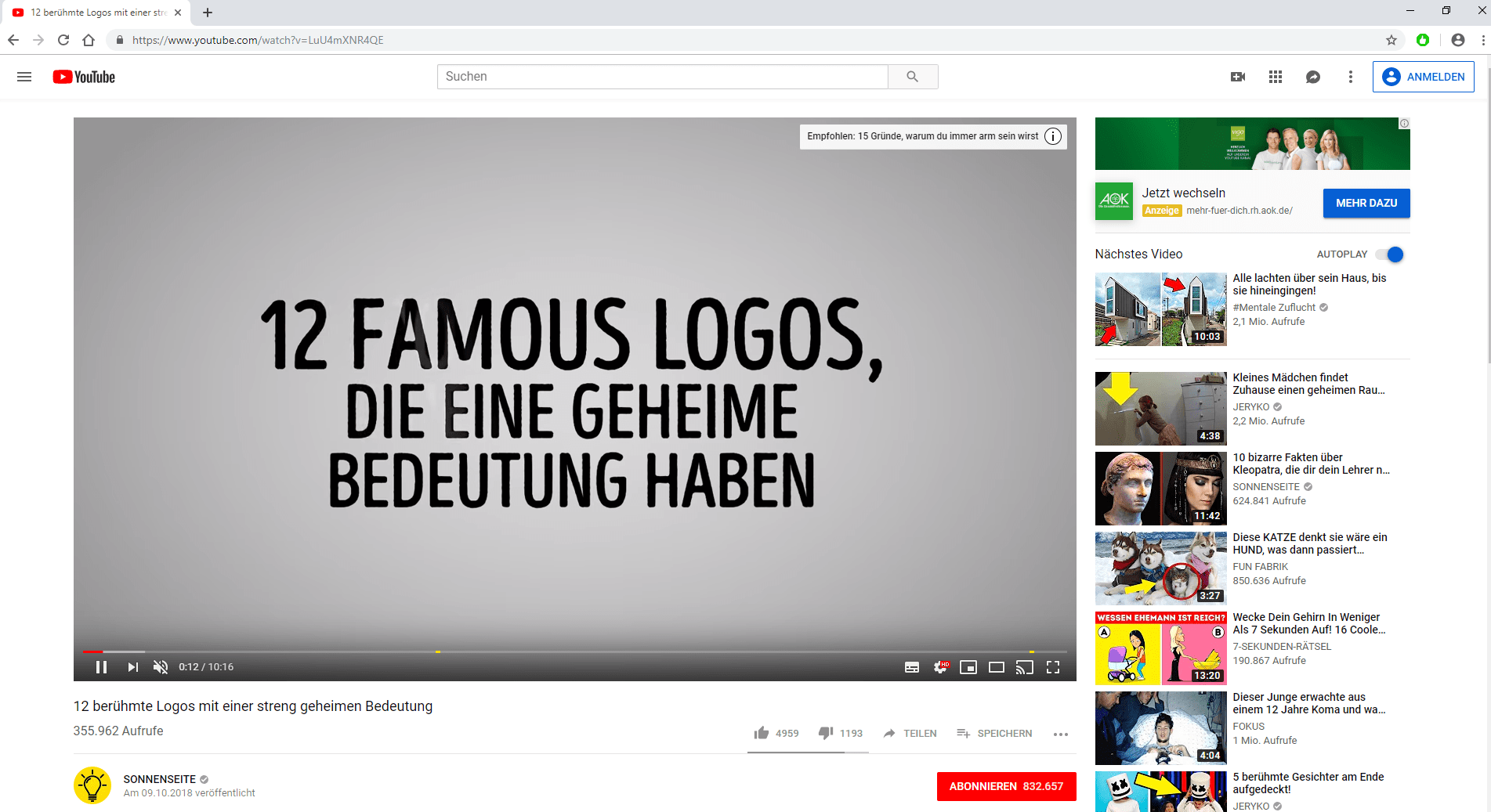 Screenshot YouTube-Infokarten-Werbung