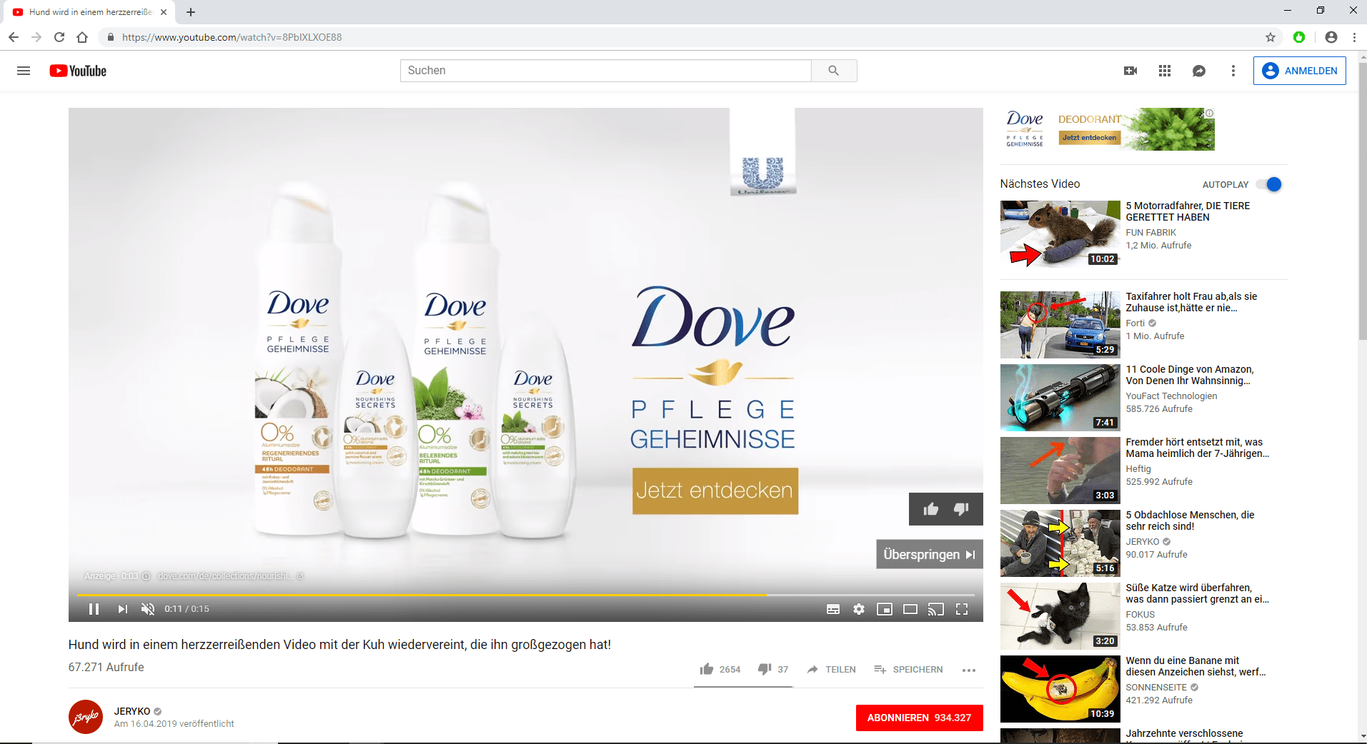 Screenshot TrueView-Werbung auf YouTube