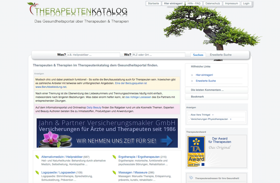 Screenshot von Therapeutenkatalog.de