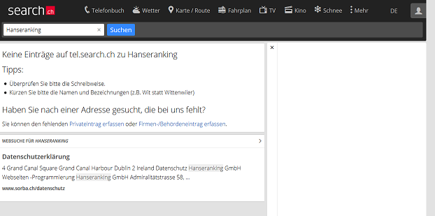 Screenshot der Search.ch Suchmaschine