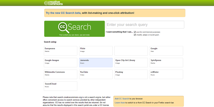 Screenshot der Creative Commons Suchmaschine