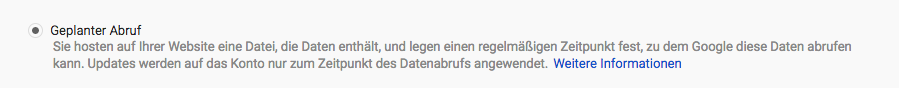 Datenfeed Geplanter Abruf